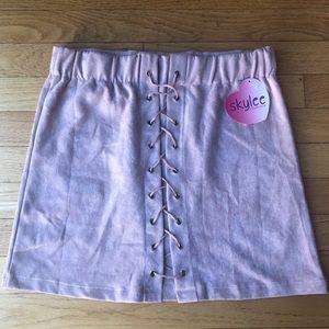 NWT Blush Velvet Mini Skirt